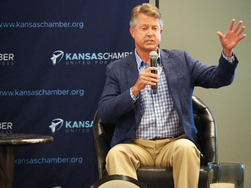 U.S. Rep. Roger Marshall, a Republican from Great Bend, will debate Democratic Party nominee Barbara Bollier, of Johnson County, on Saturday on WIBW at the first U.S. Senate debate of the general election campaign. (Tim Carpenter/Kansas Reflector)