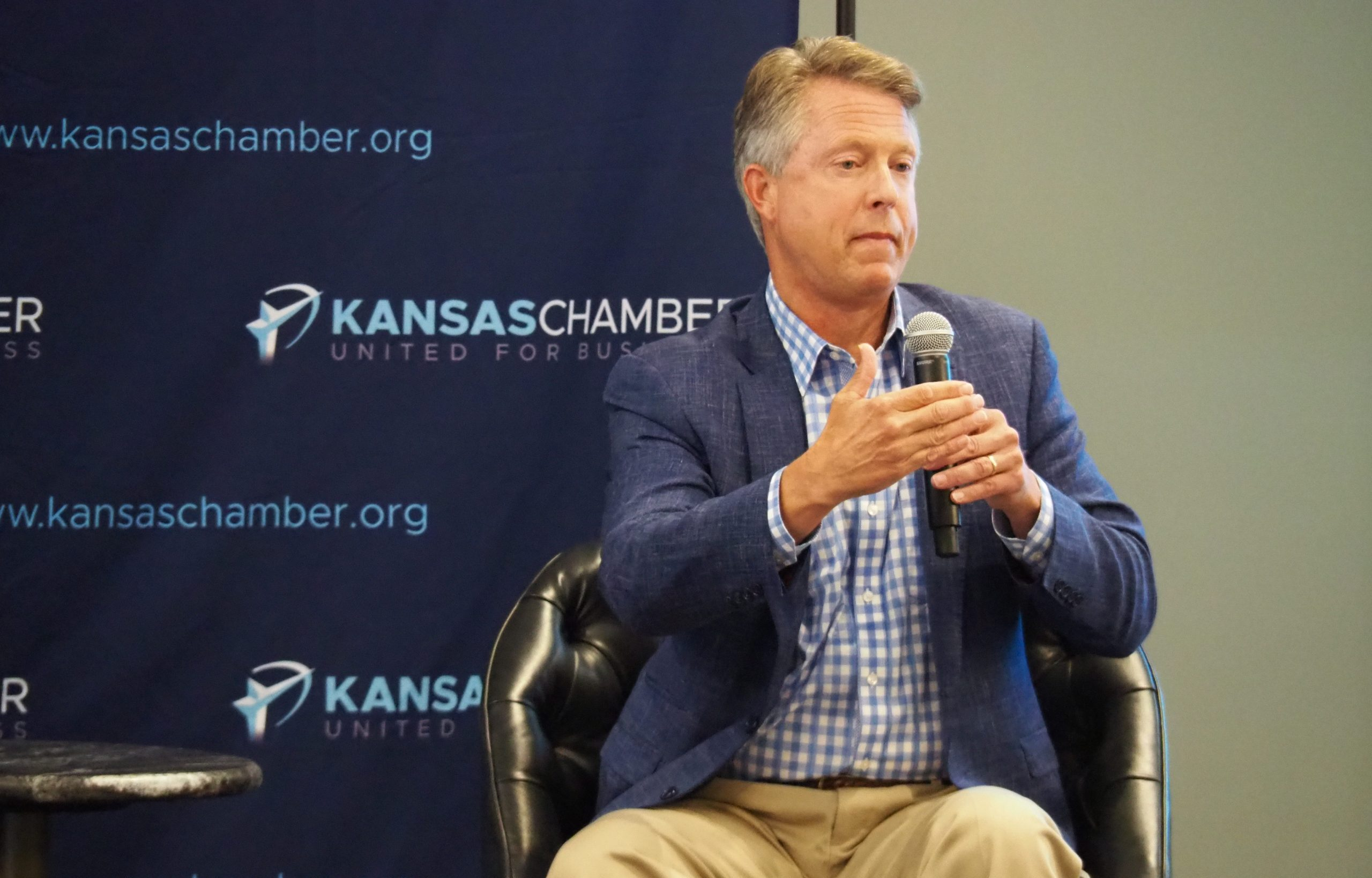 The campaign of U.S. Senate candidate Roger Marshall, a Great Bend Republican, is defending use of selectively edited video of Democratic nominee Barbara Bollier in a new attack commercial. (Tim Carpenter/Kansas Reflector)