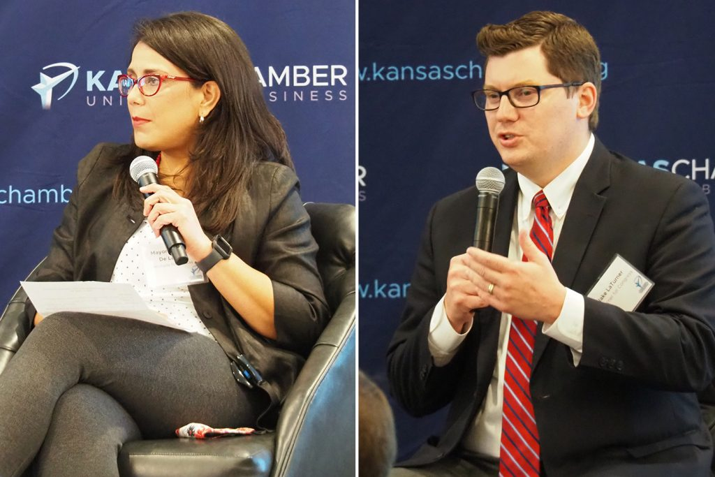 """GOP 2nd District Republican Jake LaTurner again fails to substantiate claim Democratic candidate Michelle De La Isla """"defunded"""" Topeka Police Department while serving on the city council and as mayor. (Tim Carpenter/Kansas Reflector)"""