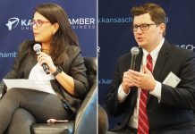 Kansas Democrat Michelle De La Isla is accusing 2nd District GOP nominee Jake LaTurner of perpetuating a false claim De La Isla worked as Topeka's mayor to decrease spending on the police department. The department's budget has increased $5 million since 2017. (Tim Carpenter/Kansas Reflector)