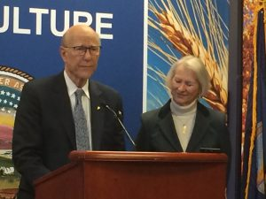 U.S. Sen. Pat Roberts and his wife, Franki, make it official in January 2019 the Kansas Republican wouldn't seek re-election in 2020. The news was delivered in offices of the Kansas Department of Agriculture near the campus of Kansas State University. (Submitted/Kansas Reflector)