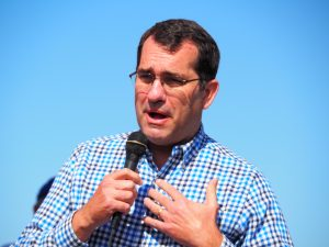 Kansas Attorney General Derek Schmidt, who isn't on the 2020 ballot, said voters need to maintain the GOP's two-thirds majorities in the Senate and House to more easily control the legislative process despite influence of Democratic Gov. Laura Kelly. (Tim Carpenter/Kansas Reflector)