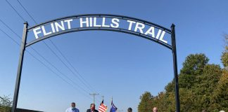 Gov. Laura Kelly joined state and local officials in Osawatomie to celebrate improvements to the Flint Hills Trail, which serves hikers and bikers on trails running through five counties in Kansas. (Submitted/Kansas Reflector)