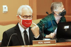 Sen. Tom Hawk, a Manhattan Democrat, said all people entering the Capitol during the upcoming 2021 legislative session should be required to wear a face covering due to the COVID-19 pandemic. (Sherman Smith/Kansas Reflector)