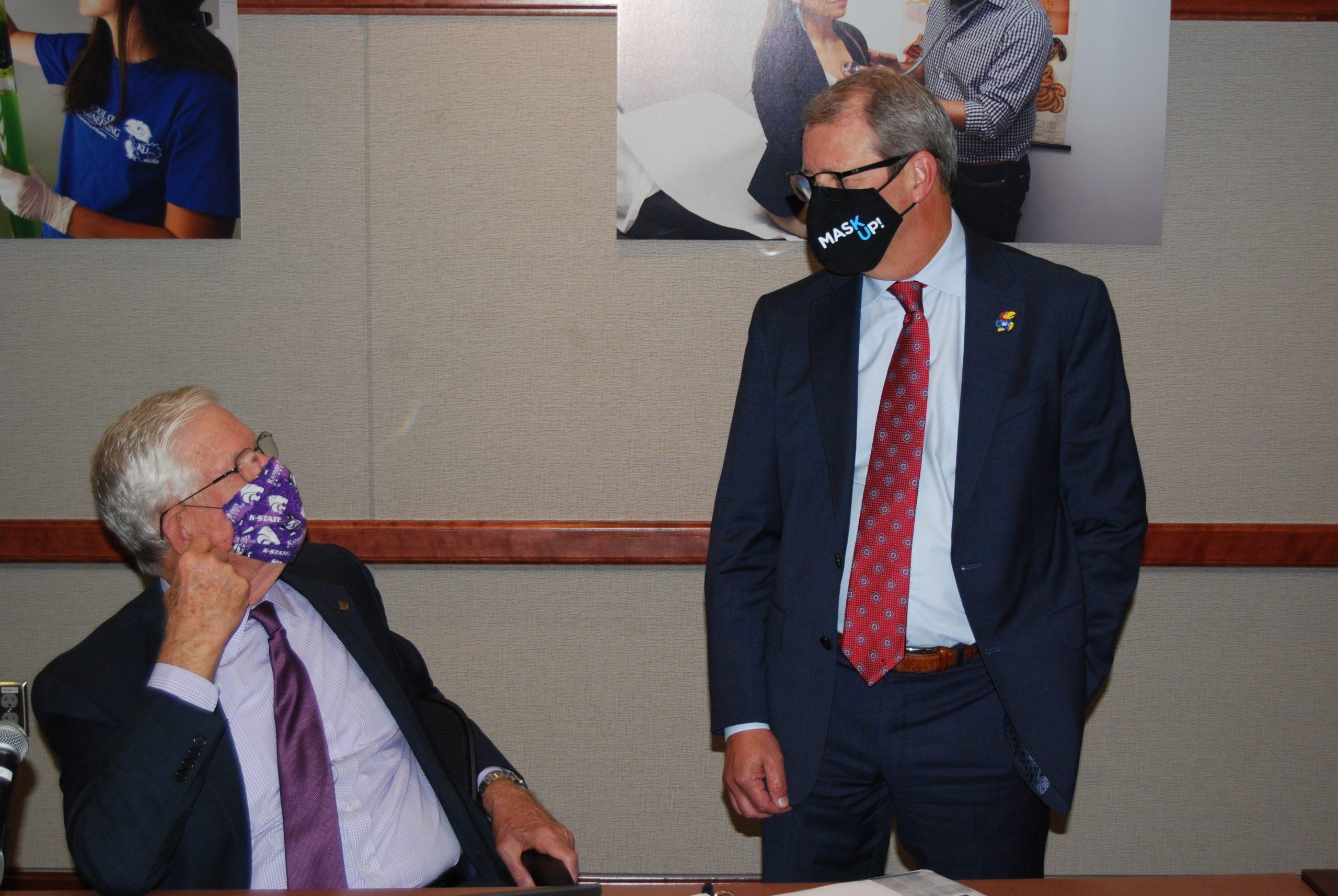 Kansas State University president Richard Myers, left, with University of Kansas chancellor Doug Girod. Myers said he would retire as KSU president at the end of 2021. (Tim Carpenter/Kansas Reflector)