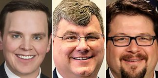 From left: Former Sedgwick County Commissioner Michael O'Donnell, soon-to-be replaced Kansas House Rep. Michael Capps and ouster-target Wichita City Councilman James Clendenin are part of a bizarre conspiracy to derail Wichita Mayor Brandon Whipple that blew up in their faces. (Sherman Smith/Kansas Reflector)