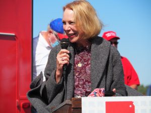 Mary Jean Eisenhower, granddaughter of the late President Dwight Eisenhower, said on Saturday she endorsed U.S. Senate candidate Roger Marshall, in part, due to his pro-life views on abortion. (Tim Carpenter/Kansas Reflector)