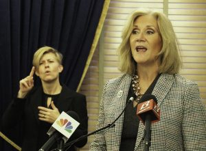 Julie Lorenz, who is responsible for coordinating expenditure of nearly $1 billion in federal COVID-19 aid, urged the State Finance Council to spend $80 million on a broadened testing program. She concurred with a proposal to set aside $15 million more for testing. (Sherman Smith/Kansas Reflector)