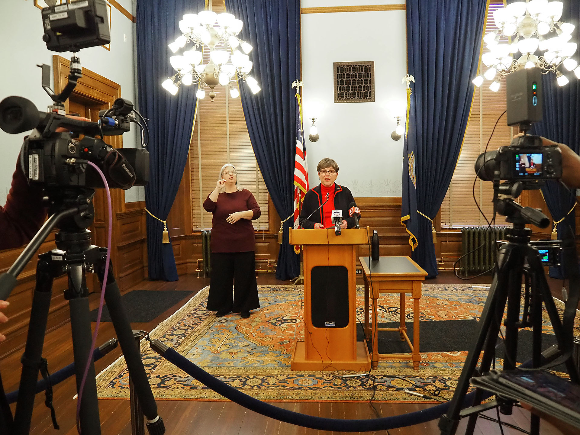 Gov. Laura Kelly proposed Wednesday talks with Kansas legislative leaders to search for a bipartisan agreement on a statewide mask requirement to shield people against COVID-19. Eighty counties have opted out of Kelly's mask mandate issued in July. (Sherman Smith/Kansas Reflector)