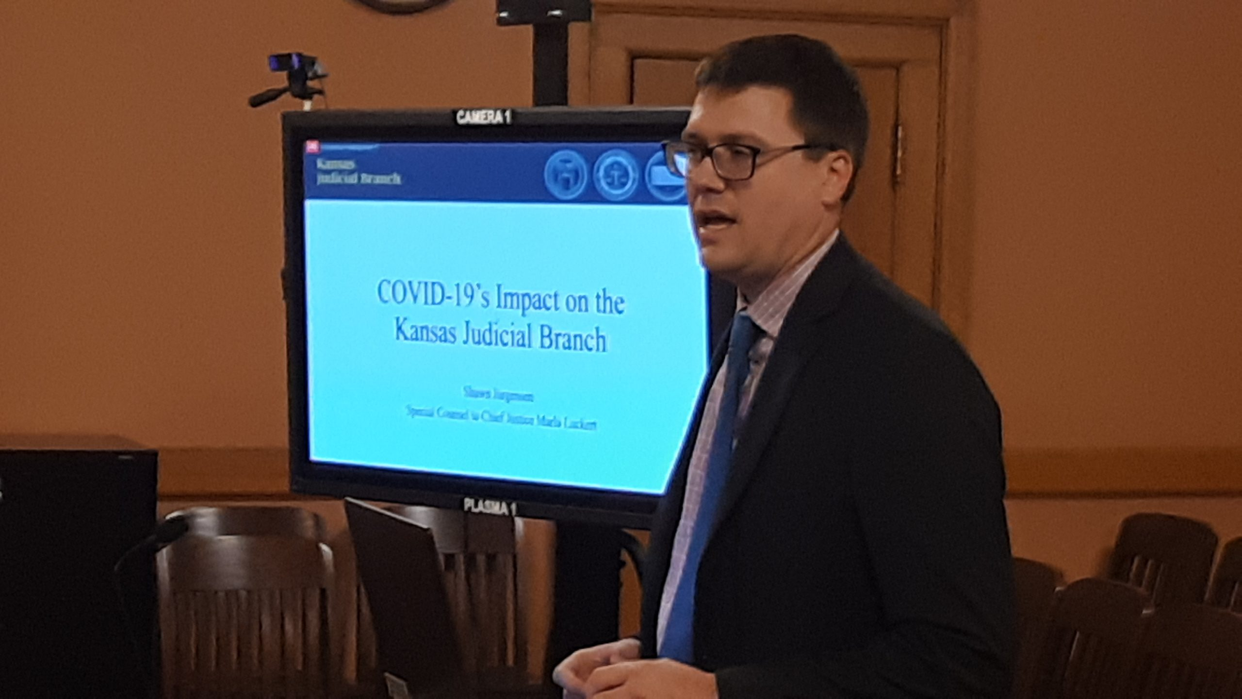 to COVID-19 and lifting the statewide disaster declaration allowing suspension of speedy-trial rules would overwhelm the judicial branch. (Tim Carpenter/Kansas Reflector)