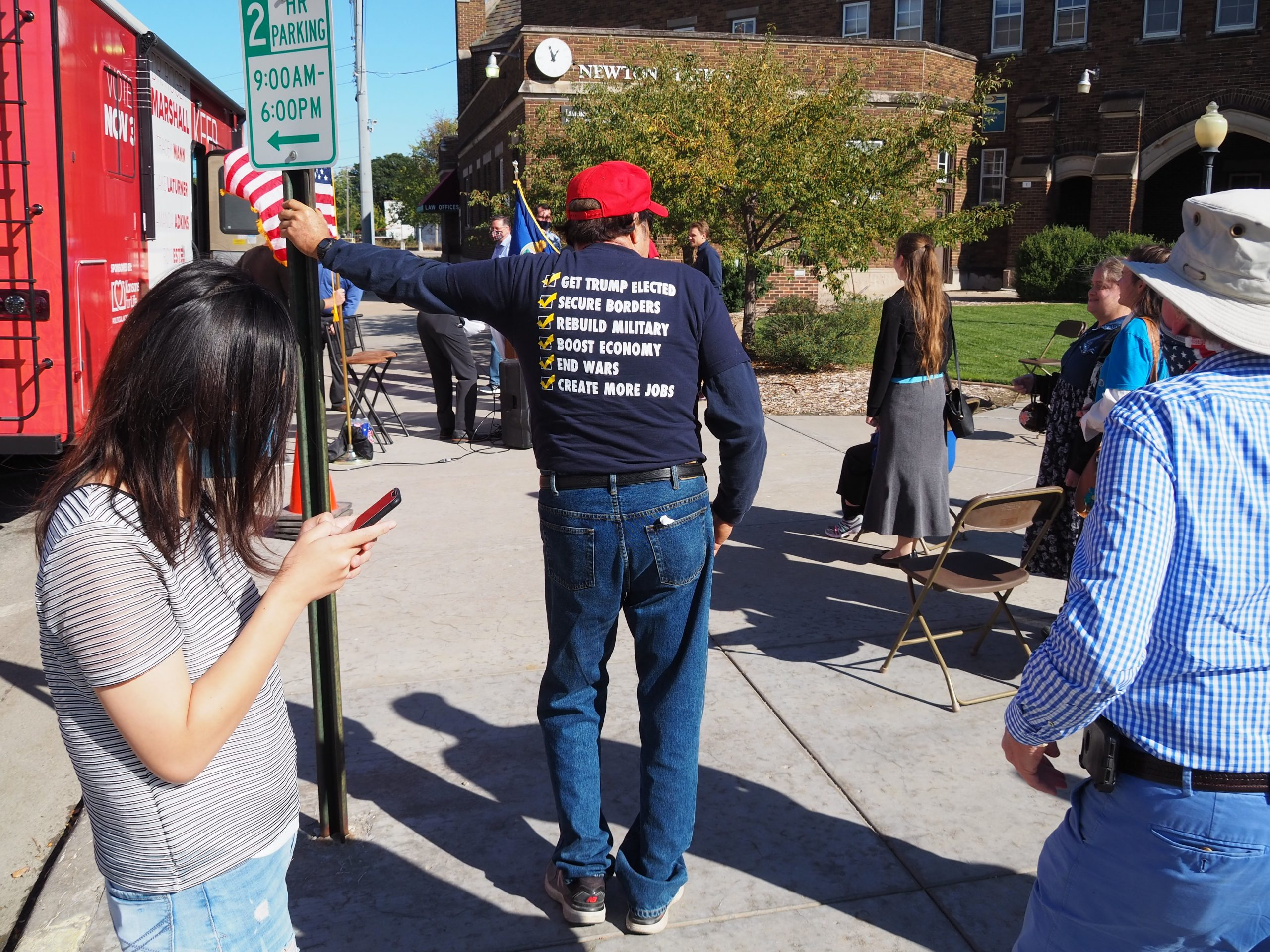 A supporter of President Donald Trump left no doubt about his views on the presidential race at a pre-election Republican Party rally in Newton. Trump carried Kansas by 15 percentage points over Democrat Joe Biden, who prevailed in the national election. (Tim Carpenter/Kansas Reflector)