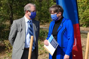 University of Kansas chancellor Doug Girod and Gov. Laura Kelly participated Thursday in announcing $7.8 million federal grant for construction of a new research building dedicated to helping start-up and established companies with bioscience and technology projects. (Tim Carpenter/Kansas Reflector)
