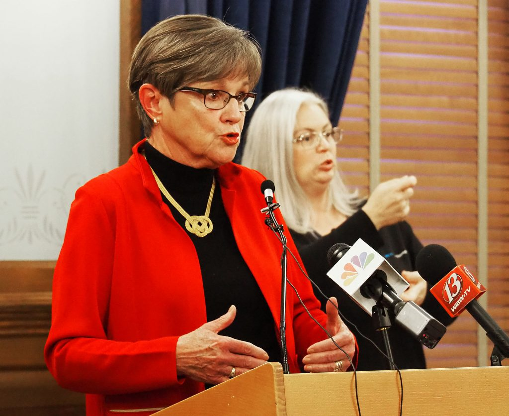 Gov. Laura Kelly entrusted the state's massive expansion of COVID-19 testing to 11 contractors that agreed to collaborate on a $50 million program to better pinpoint COVID-19 cases and bolster isolation of infected people. (Sherman Smith/Kansas Reflector)
