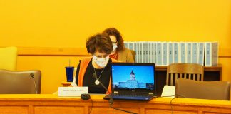 Capitol infrastructure is being updated to bring more sophistication to commuinications — something better than placing a microphone in front of a laptop speaker to deliver audio. (Tim Carpenter/Kansas Reflector)