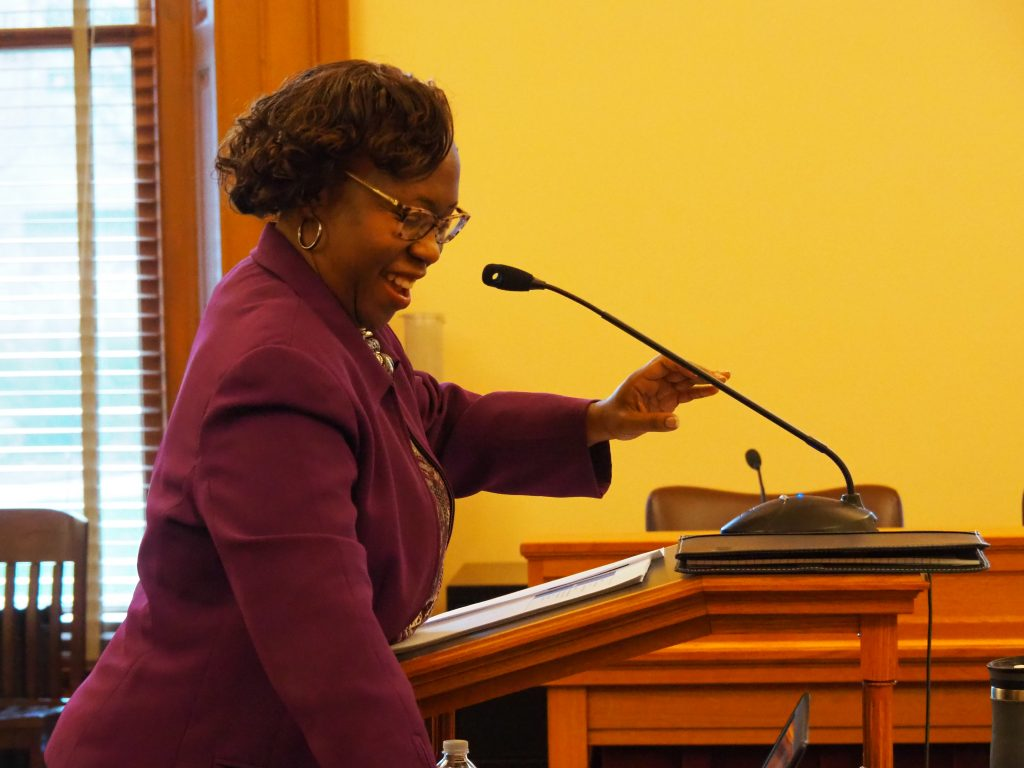 DeAngela Burns-Wallace, secrretary of the kansas Department of Administration and the state's executive chief information technology officer, received bipartisan praise Thursday from a legislative committee regarding her work to improve IT systems and get a handle on cybersecurity problems in state government. (Tim Carpenter/Kanas Reflector)