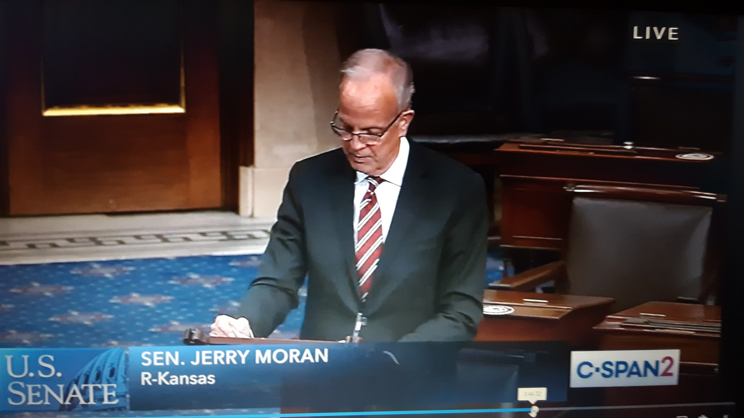 U.S. Sen. Jerry Moran, a Kansas Republican, praised nomination of Kansas solicitor general Toby Crouse for appointment to the U.S. District Court in Kansas. His nomination was affirmed 50-43. (Image from C-SPAN2/Kansas Reflector)