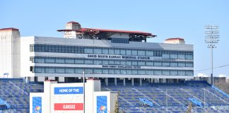The Kansas Supreme Court is attempting to referee an end to 15 years of litigation from the fumbled installation of glass panels on the press box and luxury suites at Memorial Stadium at the University of Kansas. (Tim Carpenter/Kansas Reflector)