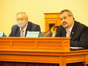 Galena Republican Rep. Richard Hilderbrand, right, says the Kansas Department of Labor has made strides since March, but continues to struggle with payment legitimate unemployment claims at the same time perpetrators of fraud have made their way into the state's computer system. (Tim Carpenter/Kansas Reflector)