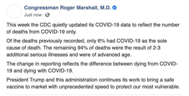 The Kansas Academy of Family Physicians rejects President Donald Trump's claim doctors are profiting from inflation of COVID-19 deaths. U.S. Rep. Roger Marshall, a GOP candidate for U.S. Senate, joined Trump to say the death toll was exaggerated because just 6% of reported coronavirus fatalities were among people with no underlying medical condition. (Screenshot)
