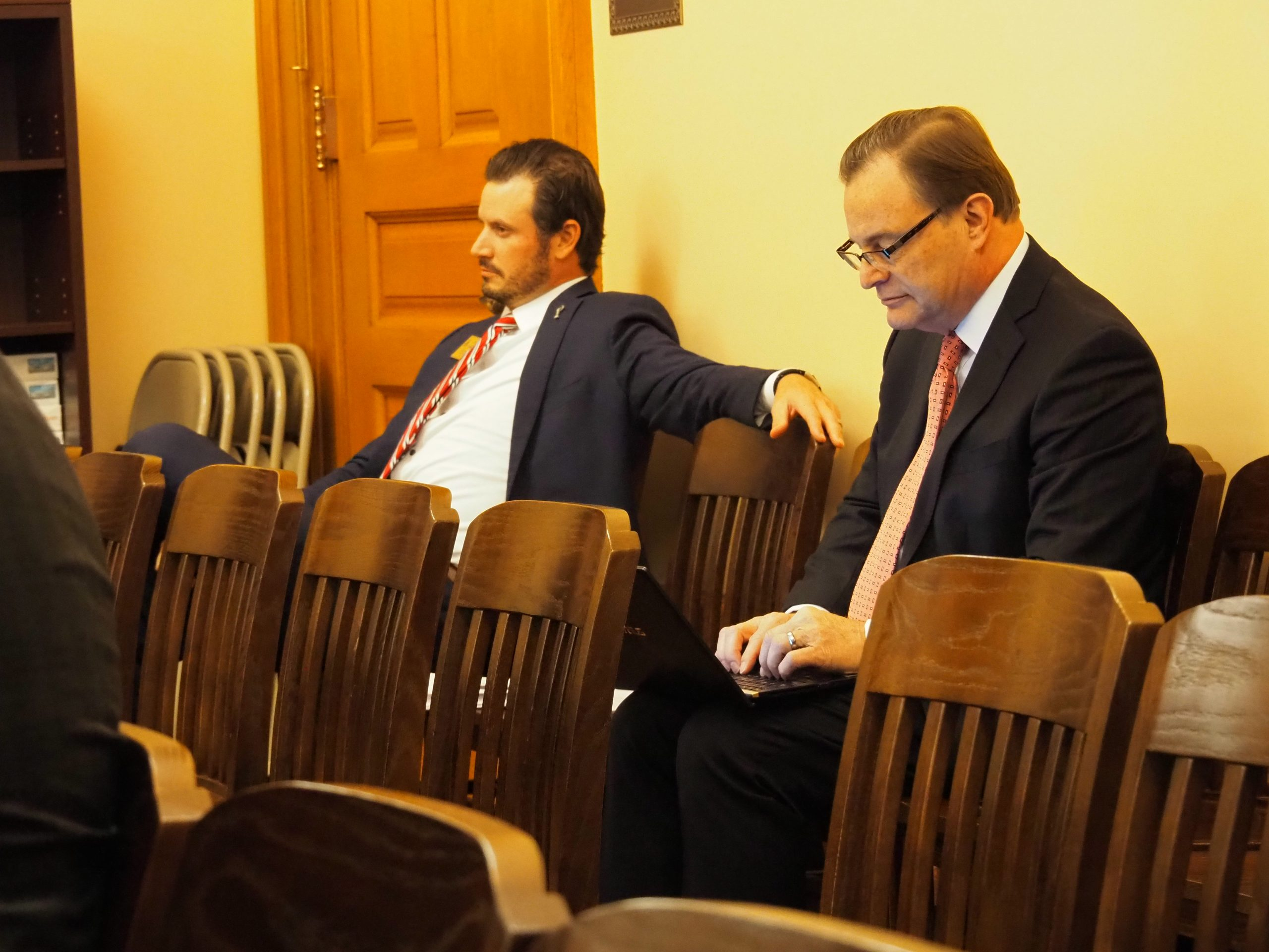 Eric Stafford, left, of the Kansas Chamber and Dave Trabert of the Kansas Policy Institute spoke with the Legislature's economic recovery committee about potential tax reforms in wake of the COVID-19 pandemic. (Tim Carpenter/Kansas Reflector)