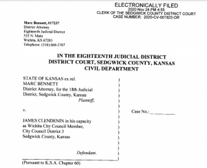 Sedgwick County District Attorney Marc Bennett filed an ouster petition against Wichita City Councilman James Glendenin resulting from an alleged conspiracy to politically damage Wichita Mayor Brandon Whipple. (Tim Carpenter/Kansas Reflector)