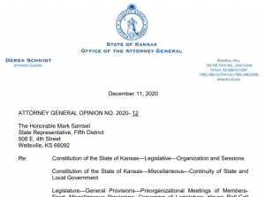 The Kansas attorney general's advisory opinion says the Kansas Legislature must meet in the city limits of Topeka and take all final action votes in the House and Senate while physically gathered in a place. (Screen shot/Kansas Reflector)