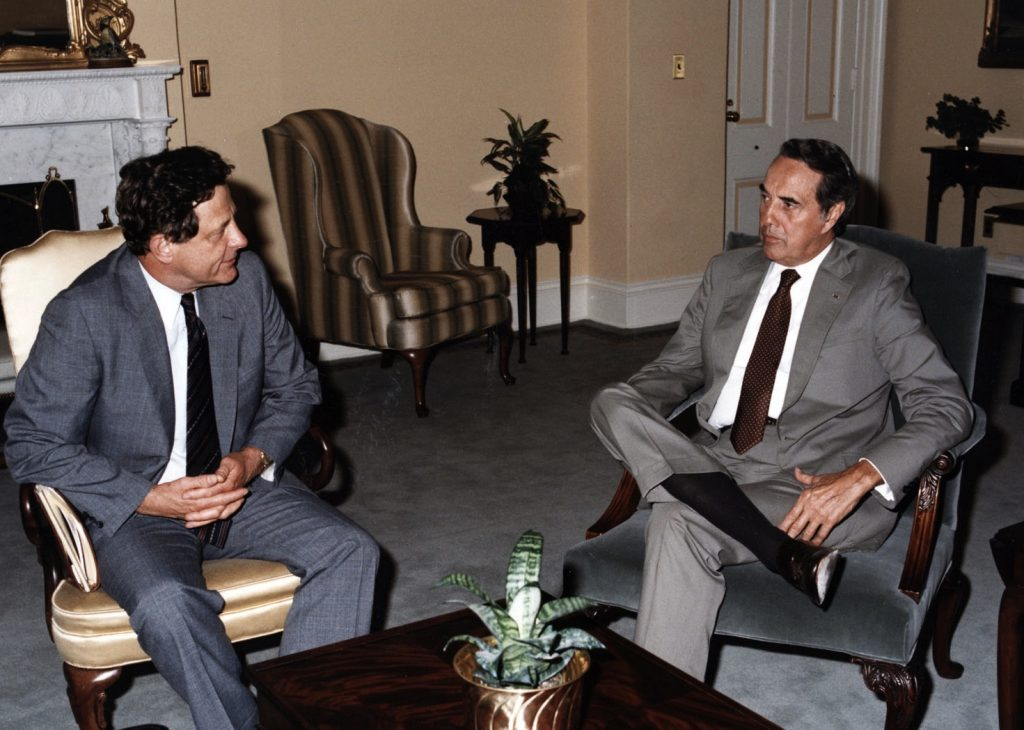U.S Sen. Birch Bayh. an Indiana Democrat, and Sen. Bob Dole, a Kansas Republican, worked together 40 years ago to author the Bayh-Dole Act, which created opportunity for a surge in product development inspired by federally financed research. This image shows the men in 1985. (Dole Photograph Collection, University of Kansas)