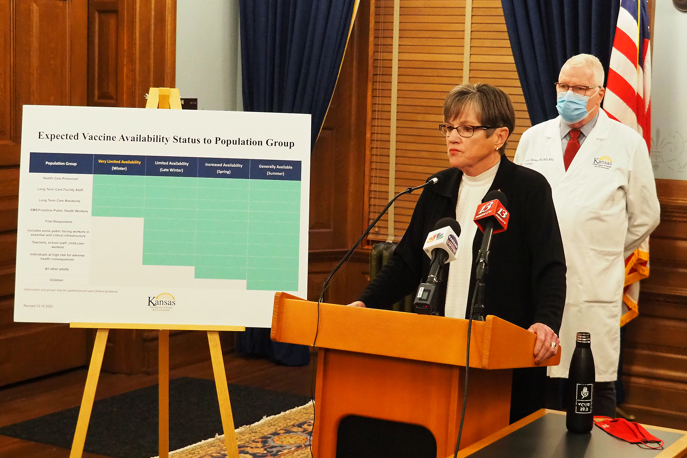 Gov. Laura Kelly said during a news conference at the Capitol on Wednesday that start of vaccinations for COVID-19 bring hope and urged Congress to expand financial relief to states and communities hit by the pandemic. (Tim Carpenter/Kansas Reflector)