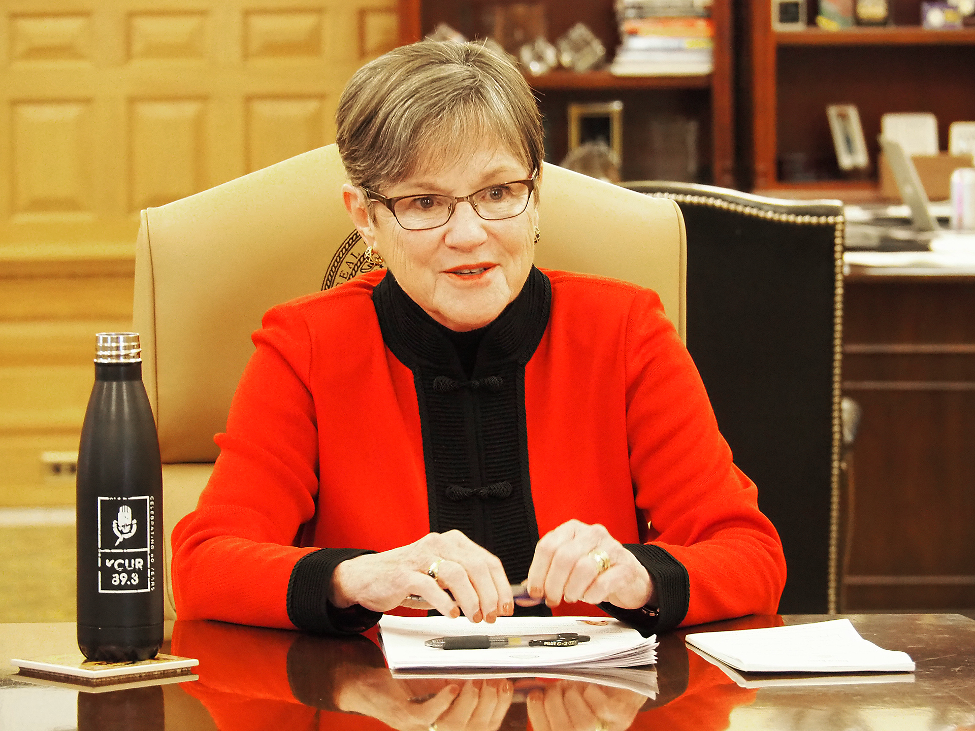 Gov. Laura Kelly signed four bills, including a suspension of the state's speedy-trial statute until May 2023 due to the backlog of criminal cases stemming from the COVID-19 public health emergency. (Sherman Smith/Kansas Reflector)