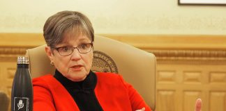 Gov. Laura Kelly said the upward revision of state revenue forecasts was welcome news but warned the Republican-led Legislature against going on a tax-cutting spree as Kansas worked through issues tied to the COVID-19 pandemic. (Sherman Smith/Kansas Reflector)
