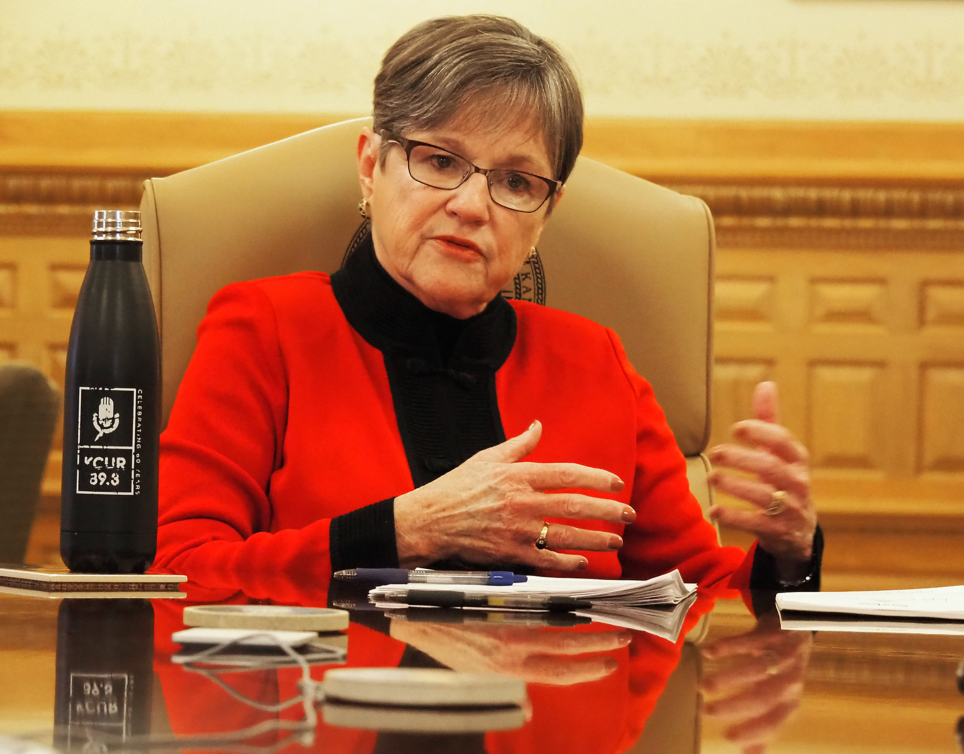 Gov. Laura Kelly is proposing Kansas pay for expansion of Medicaid with revenue drawn from legalizing medicinal marijuana. (Sherman Smith/Kansas Reflector)
