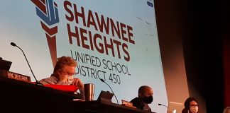 The federal government allocated $836 million in the latest round of COVID-19 aid to Kansas public education for use to help student rebound from the pandemic. Here, the Shawnee Heights school board near Topeka voted in December for a hybrid of in-person and online instruction. (Tim Carpenter/Kansas Reflector)