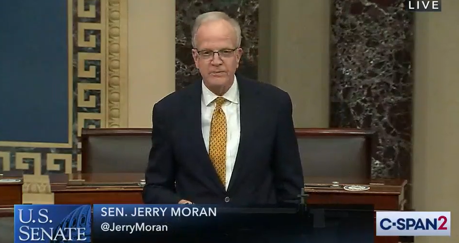 U.S. Sen. Jerry Moran, a Kansas Republican, joined his five colleagues in the Kansas congressional delegation Monday night in support of a $900 billion COVID-19 relief package. (C-SPAN screenshot/Kansas Reflector)