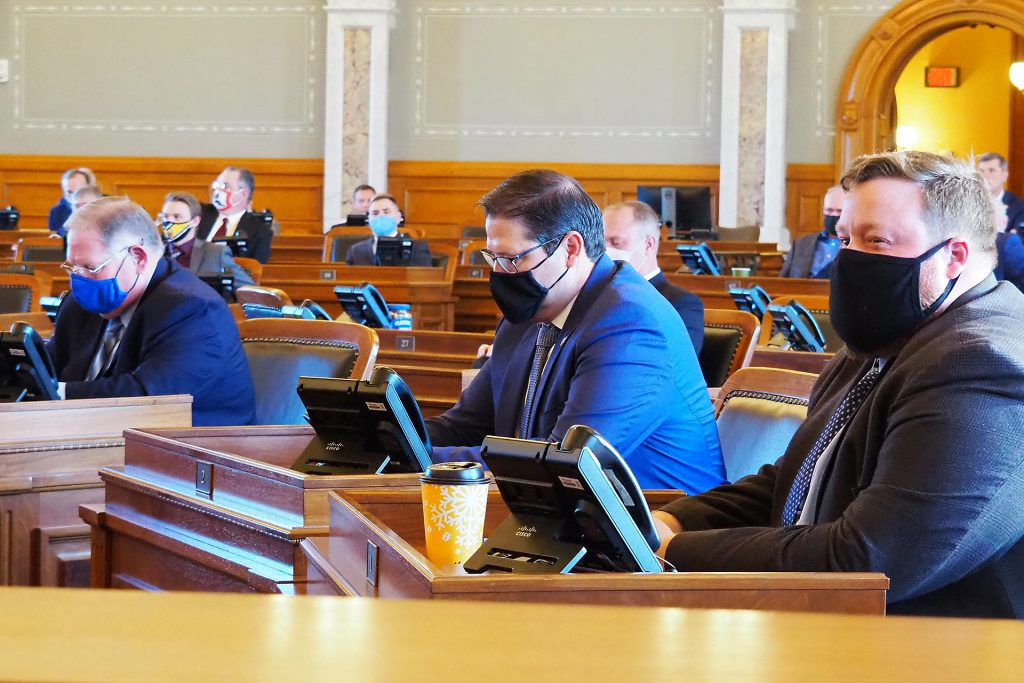 House Speaker Ron Ryckman, center, an Olathe Republican, said special public health precautions and an infusion of visual and audio technology at the Capitol were necessary to keep House and Senate members safe when the 2021 session begins Jan. 11. (Noah Taborda/Kansas Reflector)