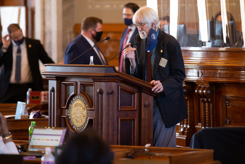 Rep. Boog Highberger, D-Lawrence, proposed a House amendment to ban concealed handguns from the Capitol except for law enforcement officers. Opponents of the amendment said the 30 to 40 House members who routinely carry a gun were needed to bolster security. (Pool photo by Evert Nelson/Topeka Capital-Journal)