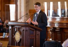 Rep. Fred Patton, a Topeka Republican, pleaded with House colleagues to support a bill suspending for three years the state law defining a speedy criminal trial because the district courts were overwhelmed by COVID-19 issues. The bill passed 117-17. (Pool photo by Evert Nelson/Topeka Capital-Journal)