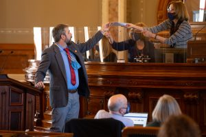 Rep. Jason Probst, a Hutchinson Democrat, said fellow Reno County legislator Mark Steffen improperly invited an essential oils advocate to a county commission meeting to talk about use of essential oils in the pandemic. (Pool photo by Evert Nelson/Topeka Capital-Journal)