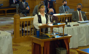 Sen. Caryn Tyson, a Parker Republican, urged the House tax committee to support a Senate-passed bill designed to bring more transparency to city and county increases in property taxes. (Kansas Legislature screenshot/Kansas Reflector)