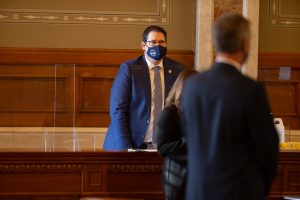 Kansas House Speaker Ron Ryckman, an Olathe Republican, wears a mask on the House floor Monday on the first day of the 2021 session of the Legislature. There is no mask mandate in the House related to COVID-19, despite pleas from some members for adoption of that public health measure. (Pool photo by Evert Nelson/Topeka Capital-Journal)