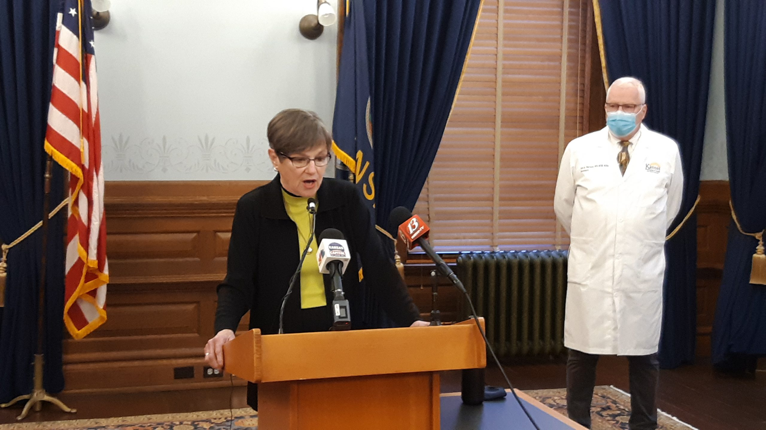 Gov. Laura Kelly said the Kansas Department of Labor paid out an estimated $290 million in fraudulent unemployment claims in the COVID-19 pandemic year of 2020, including $140 million from the state's trust fund and $150 million in temporary federal assistance. (Tim Carpenter/Kansas Reflector)