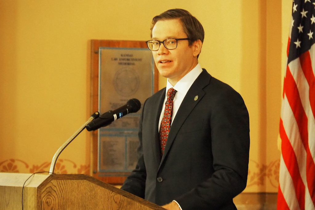 Lt. Gov. David Toland, who retains his job as secretary of the Kansas Department of Commerce, was sworn into office Monday to fill the vacancy at lieutenant governor. (Sherman Smith/Kansas Reflector)