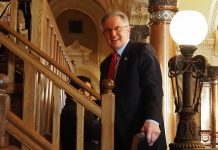 Sen. Mike Thompson, a Republican chairman of the Senate utility committee, said the Legislature should escalate penalties for trespassing on infrastructure facilities that include water, electric and natural gas distribution as well as a range of private businesses infrastructure. (Sherman Smith/Kansas Reflector)