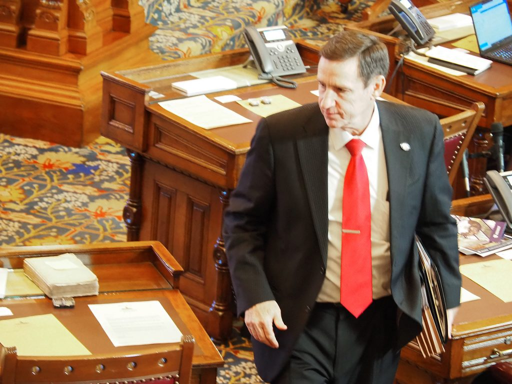 Sen. Dennis Pyle, a Hiawatha Republican, failed to convince Senate colleagues to let the state's COVID-19 emergency disaster declaration expire Jan. 26 to reopen the economy. The Senate moved to extend the disaster declaration to March 31. (Sherman Smith/Kansas Reflector)