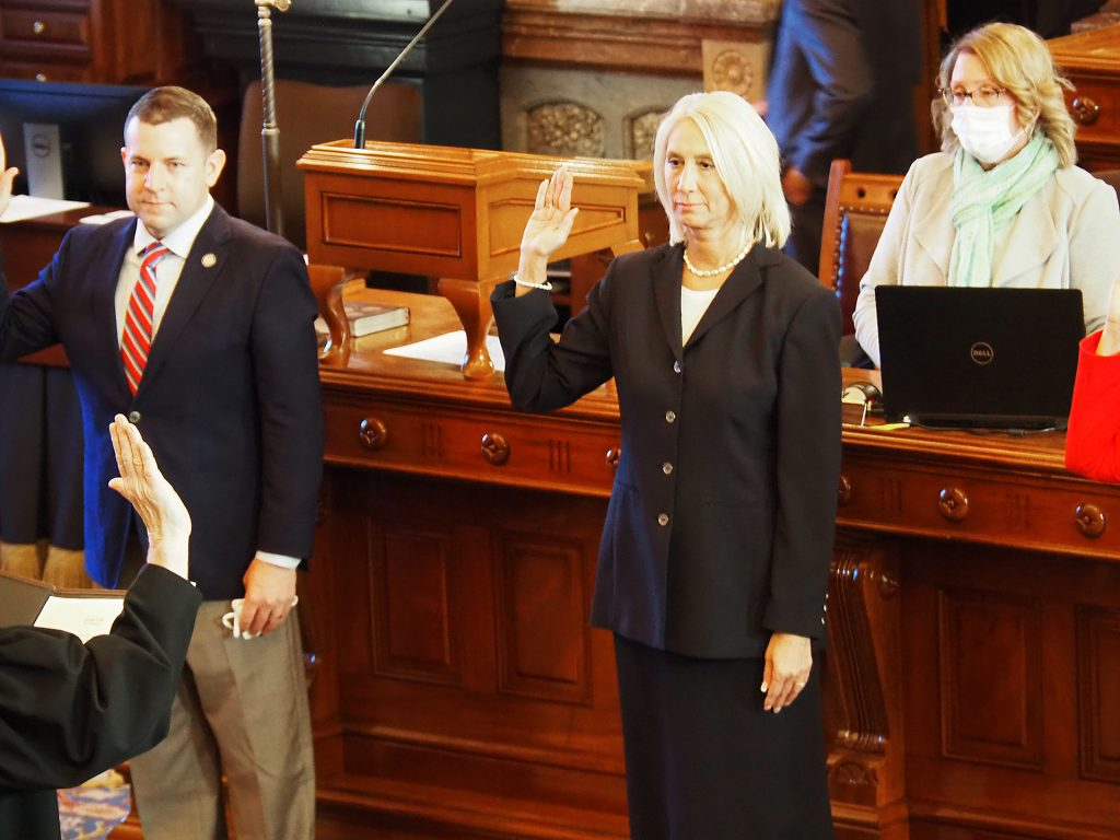 Sen. Renee Erickson, a Wichita Republican, is sponsoring legislation to require K-12 and college athletes to participate based on gender at birth. (Sherman Smith/Kansas Reflector)