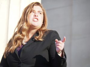 Brittany Jones, director of advocacy for Family Policy Alliance of Kansas, is supporting state Senate legislation to require elementary, high school and college sports teams to prohibit people identified as male at birth from later being part of a women's sports program. (Noah Taborda/Kansas Reflector)