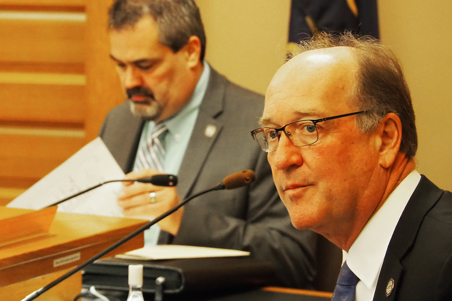 Sen. Jeff Longbine, a Republican from Emporia, said allowing convenience stores, as opposed to casinos. engage in the business of sports gambling in Kansas sets taxpayers up to absorb losses sustained through bets placed at those retail stores. (Sherman Smith/Kansas Reflector)