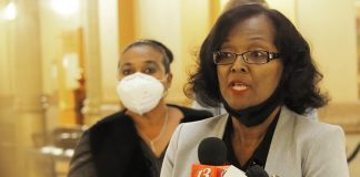 Rep. Gail Finney, D-Wichita, takes part in a news conference Wednesday at the Statehouse with Democratic colleagues to call on better data tracking for maternity deaths. (Sherman Smith/Kansas Reflector)