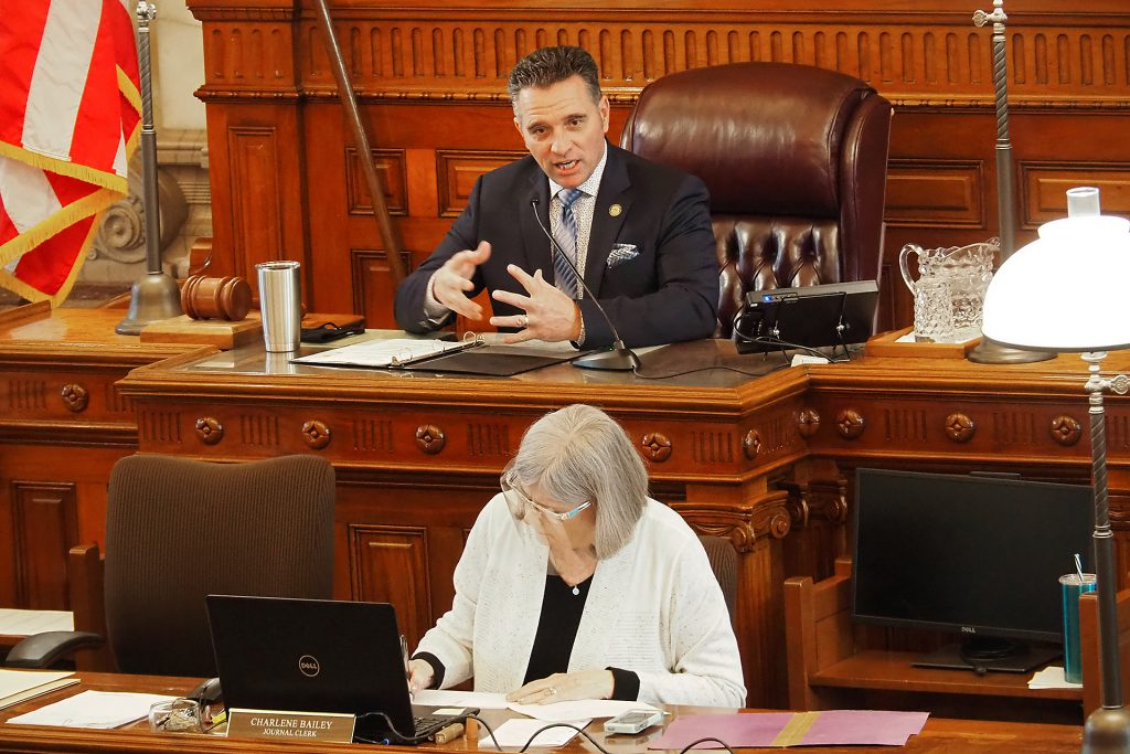 Senate President Ty Masterson, an Andover Republican, said placement of the Value Them Both constitutional amendment on statewide ballots in 2022 is essential to preserve reasonable limits on the procedure in Kansas. (Sherman Smith/Kansas Reflector)