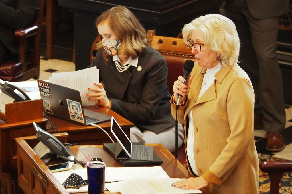 Sen. Pat Pettey, D-Kansas City, offered a change to the proposed abortion amendment to the Kansas Constitution's Bill of Rights that would preclude restrictions that could jeopardize the life of mothers or block abortion to victims of rape or incest. (Sherman Smith/Kansas Reflector)