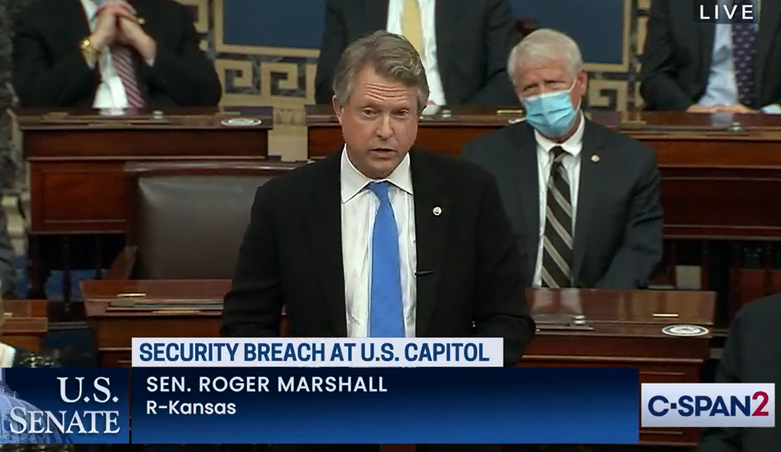 U.S. Sen. Roger Marshall speaks on the Senate floor last week about formal challenges to the Electoral College vote count that affirmed victory for President-elect Joe Biden. (Screen shot of C-SPAN2 coverage/Kansas Reflector)